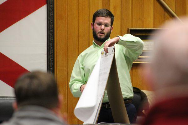 District 1 Councilman Ashton Fowler at Wednesday's Sylacauga City Council/Sylacauga Little League Town Hall | Michael Brannon for SylacaugaNews.com | © 2018, SylacaugaNews.com/RadioAlabama. All Rights Reserved.
